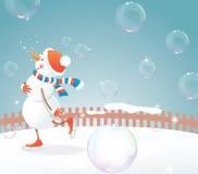 Muñeco de nieve en patines Foto de archivo