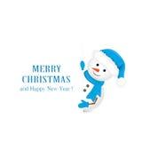 Muñeco de nieve en sombrero azul y saludos de la Navidad stock de ilustración