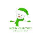 Muñeco de nieve en sombrero verde y saludos de la Navidad ilustración del vector
