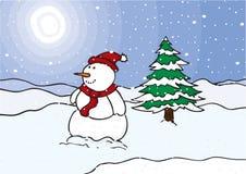 Muñeco de nieve en un campo Imagen de archivo libre de regalías