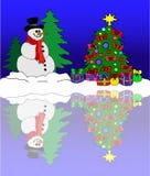 Muñeco de nieve en un mar del invierno ilustración del vector