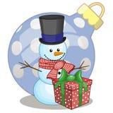 Muñeco de nieve en un sombrero ilustración del vector