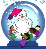 Muñeco de nieve en una bola de cristal