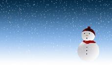 Muñeco de nieve en winterscene Fotos de archivo