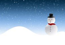 Muñeco de nieve en winterscene Fotos de archivo libres de regalías