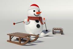 Muñeco de nieve, esquís y dos trineos de madera con él Imagen de archivo