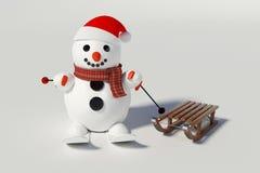 Muñeco de nieve, esquís y trineos de madera con él Fotografía de archivo