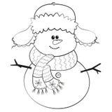 Muñeco de nieve fácil sonriente con el casquillo Foto de archivo