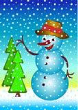 Muñeco de nieve feliz Fotografía de archivo libre de regalías