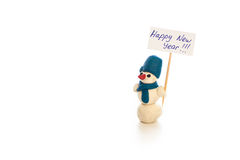 Muñeco de nieve, Feliz Año Nuevo 2016, fondo blanco, guirnalda ligera Imágenes de archivo libres de regalías