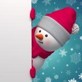 Muñeco de nieve feliz 3d que lleva a cabo la página blanca Fotos de archivo libres de regalías