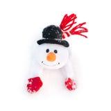 Muñeco de nieve feliz de la Navidad del invierno con la zanahoria en sombrero negro Imagen de archivo