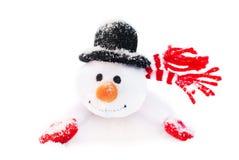 Muñeco de nieve feliz de la Navidad del invierno con la zanahoria en sombrero negro Foto de archivo libre de regalías