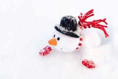 Muñeco de nieve feliz de la Navidad del invierno con la zanahoria en sombrero negro Imágenes de archivo libres de regalías