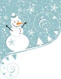 Muñeco de nieve feliz, tarjeta de Navidad Fotografía de archivo