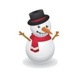 Muñeco de nieve fresco que lleva el sombrero negro Fotos de archivo