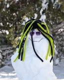 Muñeco de nieve graciosamente Fotografía de archivo