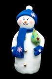 Muñeco de nieve hecho a mano sobre negro Imagen de archivo