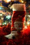 Muñeco de nieve de la bota de la decoración de la Navidad Fotografía de archivo libre de regalías