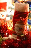 Muñeco de nieve de la bota de la decoración de la Navidad Fotos de archivo