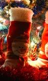 Muñeco de nieve de la bota de la decoración de la Navidad Fotografía de archivo