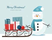 Muñeco de nieve de la Navidad, trineo llenado de las cajas de regalo y bolsos de compras libre illustration