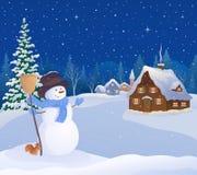 Muñeco de nieve de la Navidad y pueblo nevoso ilustración del vector