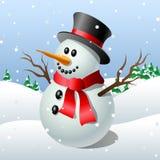 Muñeco de nieve lindo de la historieta ilustración del vector