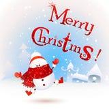 Muñeco de nieve lindo, divertido, del bebé de la Navidad con la bufanda y sombrero de Papá Noel del rojo, sintiendo excitado ¡Fel stock de ilustración