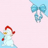 Muñeco de nieve lindo de la historieta del carácter Tarjeta de felicitación con el lugar para la enhorabuena Foto de archivo
