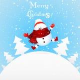 Muñeco de nieve lindo de la Navidad con el sombrero de la bufanda y de Papá Noel del rojo, sintiendo excitado ilustración del vector