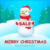 Muñeco de nieve lindo Personaje de dibujos animados divertido stock de ilustración