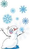 Muñeco de nieve loco de la historieta Imágenes de archivo libres de regalías