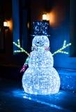 Muñeco de nieve luminoso de la Navidad Fotografía de archivo libre de regalías