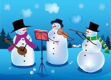 Muñeco de nieve-músicos Imagen de archivo