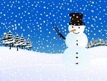 Muñeco de nieve, nevando. Ilustración del invierno. Foto de archivo libre de regalías