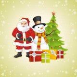 Muñeco de nieve, Papá Noel y árbol de navidad Imagen de archivo