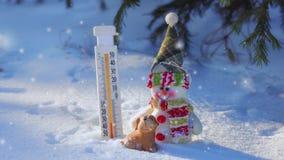 Muñeco de nieve, perro y termómetro en el bosque del invierno, nieve que cae almacen de metraje de vídeo