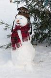 Muñeco de nieve por el árbol de navidad Imagenes de archivo