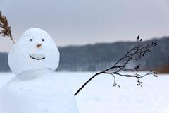 Muñeco de nieve que agita en el saludo antes de un lago congelado Foto de archivo libre de regalías