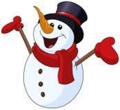 Muñeco de nieve que aumenta los brazos stock de ilustración