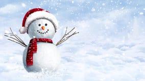 Muñeco de nieve que cuelga hacia fuera en un día de invierno Nevado almacen de metraje de vídeo