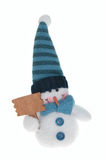 Muñeco de nieve que guarda la muestra en blanco fotos de archivo libres de regalías