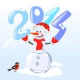 Muñeco de nieve que lleva a cabo un año del dígito Fotos de archivo