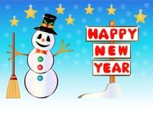 Muñeco de nieve que lleva a cabo un poste indicador de la Feliz Año Nuevo Foto de archivo libre de regalías