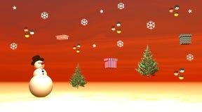 Muñeco de nieve que mira los regalos, las bolas y flyi de los abetos Imagen de archivo libre de regalías