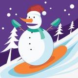 Muñeco de nieve que practica surf en la nieve Imágenes de archivo libres de regalías
