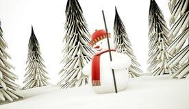 Muñeco de nieve rendido libre illustration