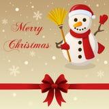 Muñeco de nieve retro de la tarjeta de la Feliz Navidad Fotografía de archivo