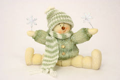 Muñeco de nieve sobre blanco Foto de archivo